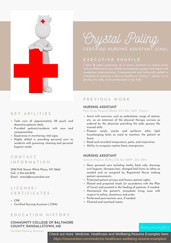 certified nursing assistant cna resume samples and tips pdf resumes bot examples example Resume Nursing Assistant Resume Examples