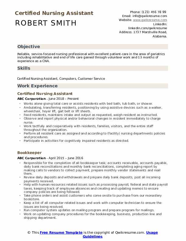certified nursing assistant resume samples qwikresume cna sample no experience pdf supply Resume Cna Resume Sample No Experience
