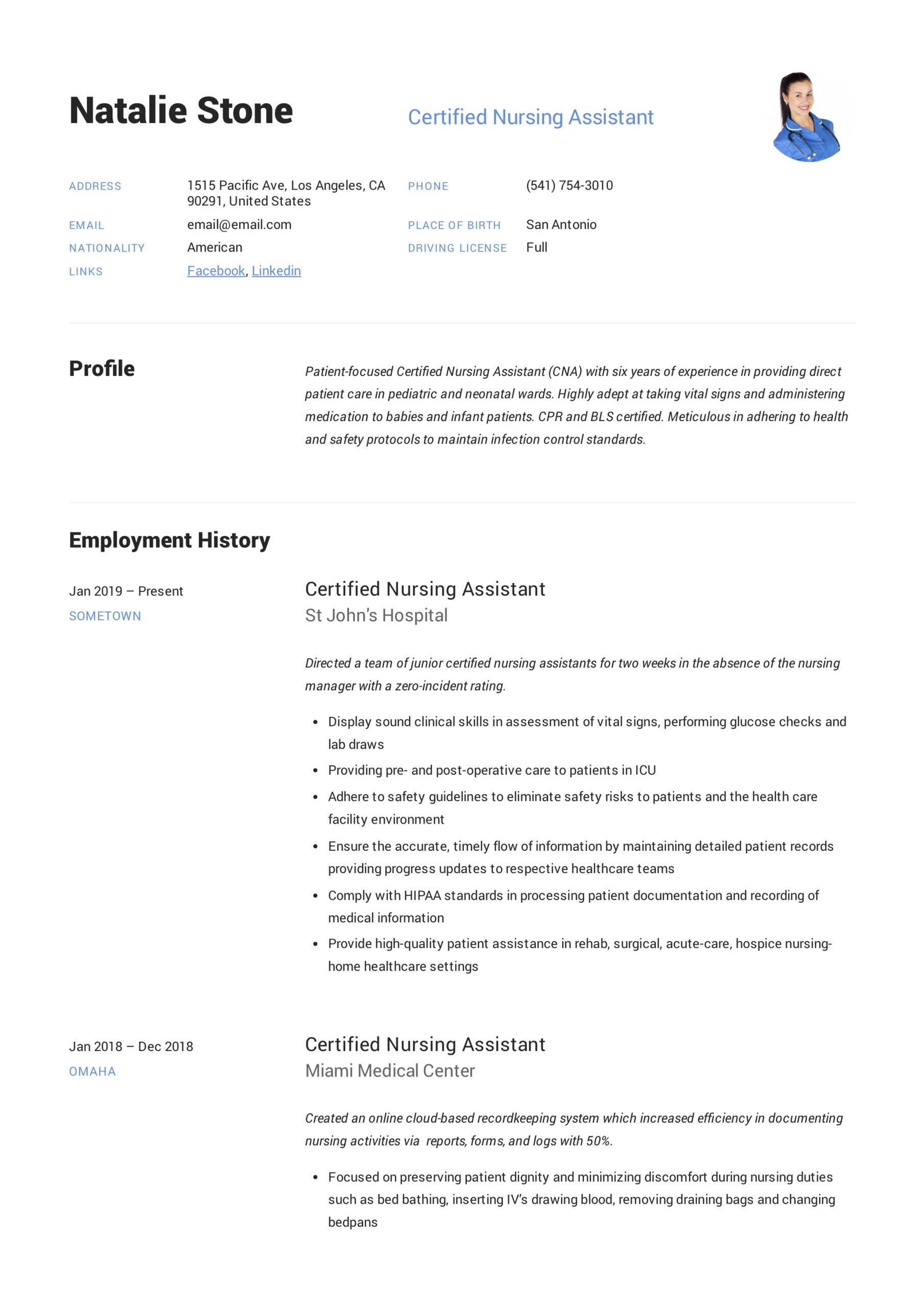 certified nursing assistant resume writing guide templates cna template free daycare Resume Cna Resume Template Free