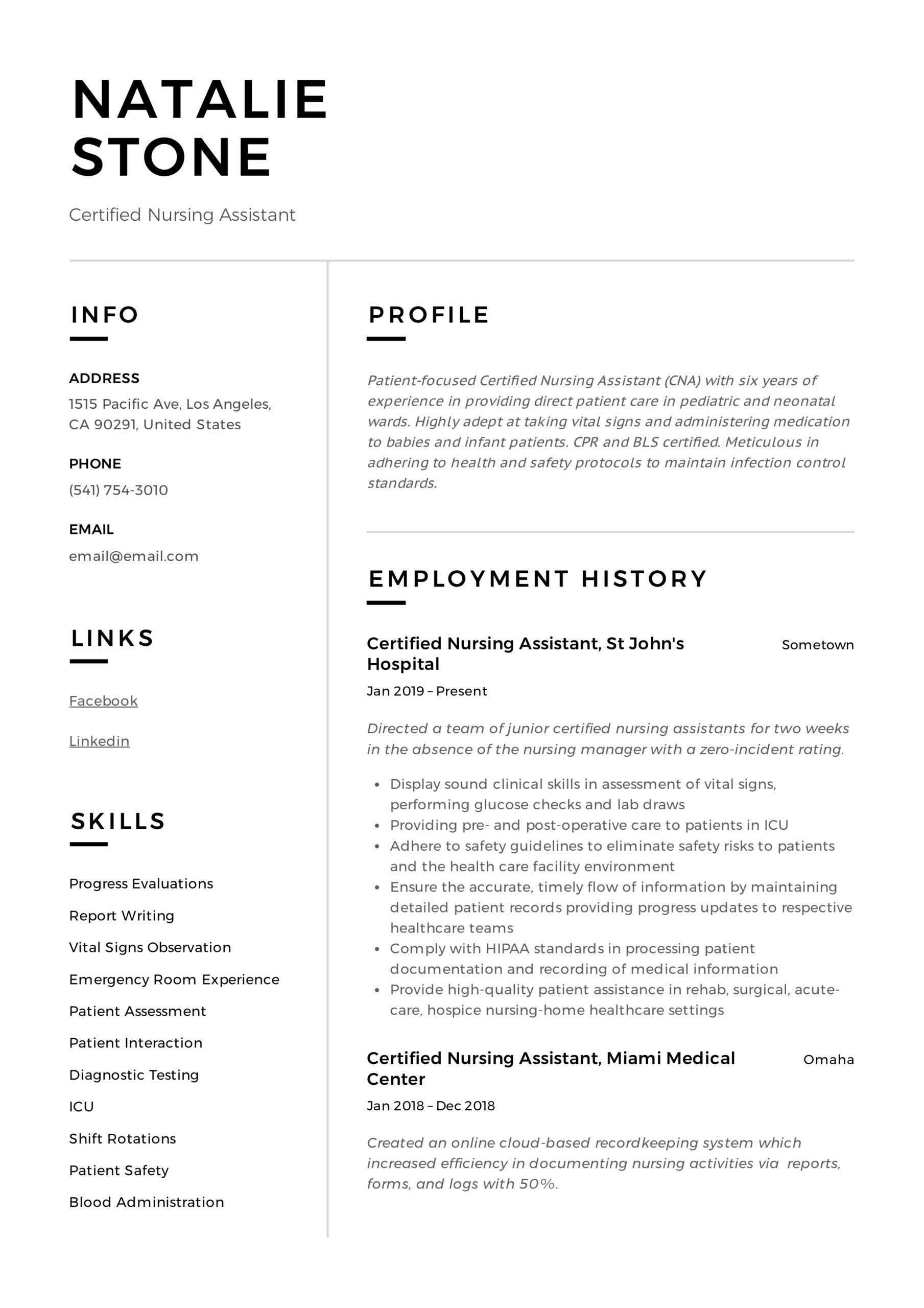 certified nursing assistant resume writing guide templates examples standard template Resume Nursing Assistant Resume Examples