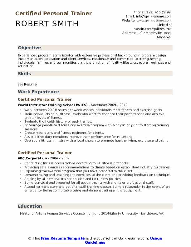 certified personal trainer resume samples qwikresume new pdf action verbs harvard duke Resume New Personal Trainer Resume
