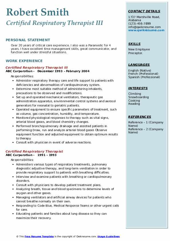 certified respiratory therapist resume samples qwikresume sample pdf leadership Resume Respiratory Therapist Resume Sample