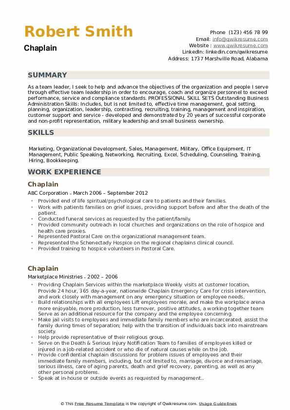 chaplain resume samples qwikresume hospital pdf cpc examples sailing for college unl Resume Hospital Chaplain Resume