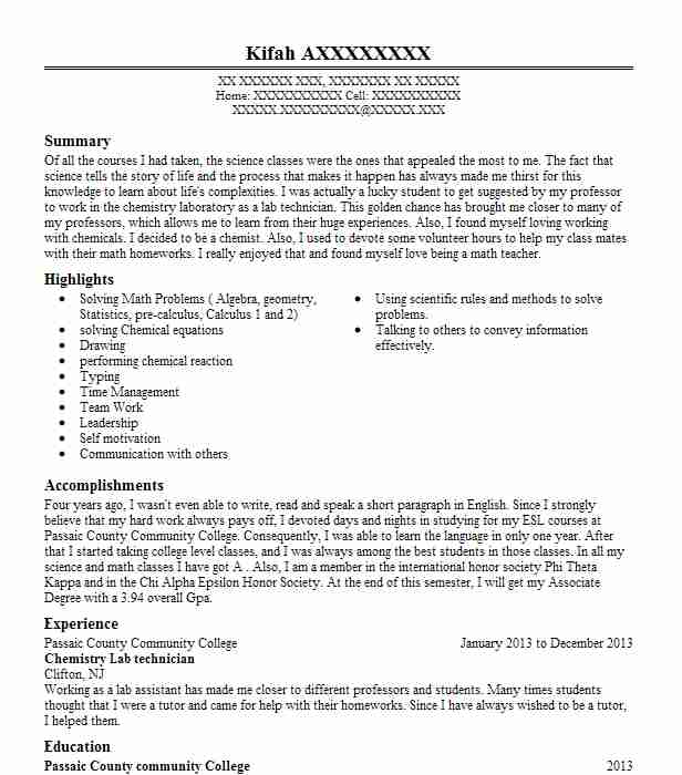 chemistry lab technician resume example livecareer entry level assistant english language Resume Entry Level Lab Assistant Resume