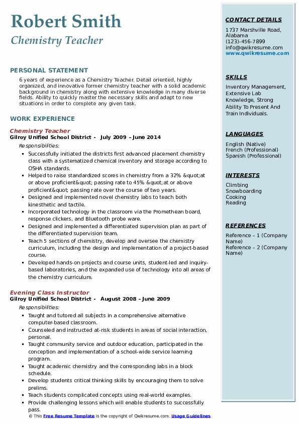 chemistry teacher resume samples qwikresume lecturer pdf typical questions uscis premium Resume Chemistry Lecturer Resume
