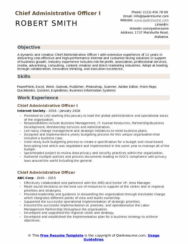 chief administrative officer resume samples qwikresume format for pdf freelance music Resume Resume Format For Administrative Officer