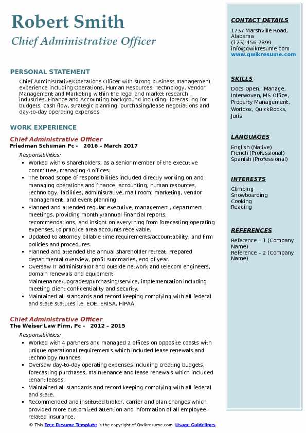 chief administrative officer resume samples qwikresume format for pdf indeed builder Resume Resume Format For Administrative Officer