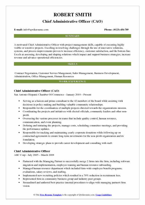 chief administrative officer resume samples qwikresume format for pdf sap fico sample Resume Resume Format For Administrative Officer