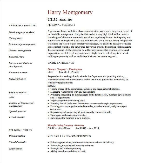 chief executive officer resume template free word excel pdf format premium templates ceo Resume Free Ceo Resume Templates