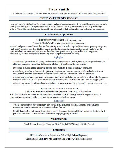 child care resume sample monster examples maths teacher model interpreter template Resume Child Care Resume Examples
