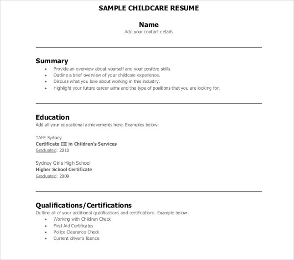 child care resume templates pdf free premium provider sample children entry level Resume Child Care Provider Resume