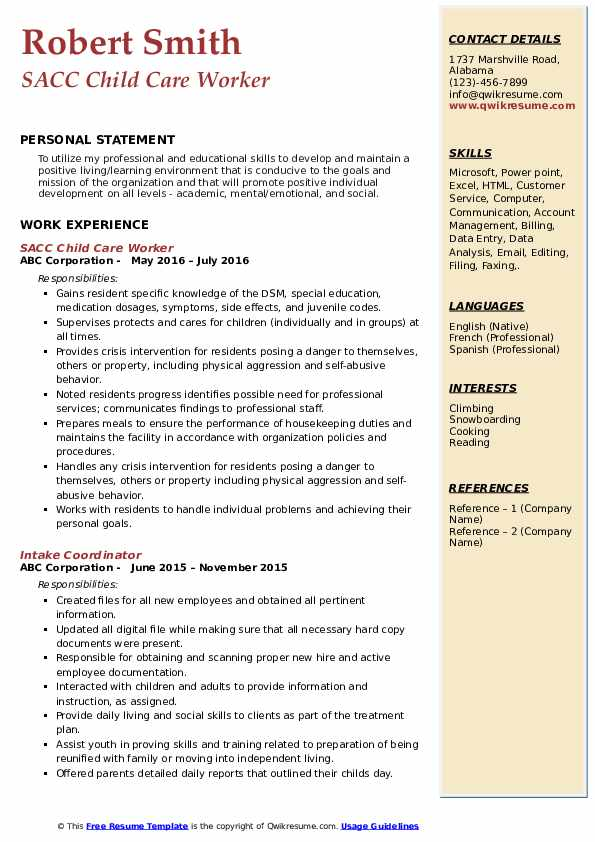 child care worker resume samples qwikresume pdf examples for project coordinator Resume Child Care Worker Resume