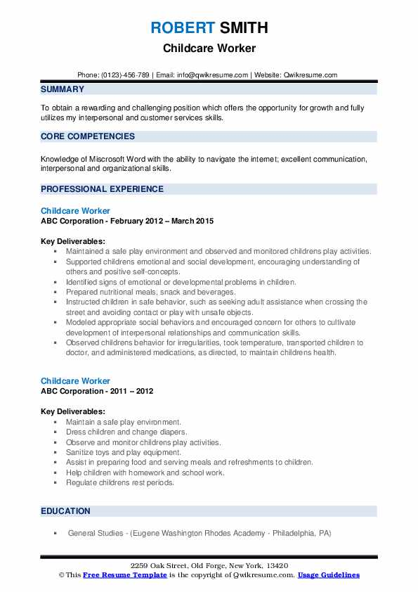childcare worker resume samples qwikresume child care pdf performance management examples Resume Child Care Worker Resume