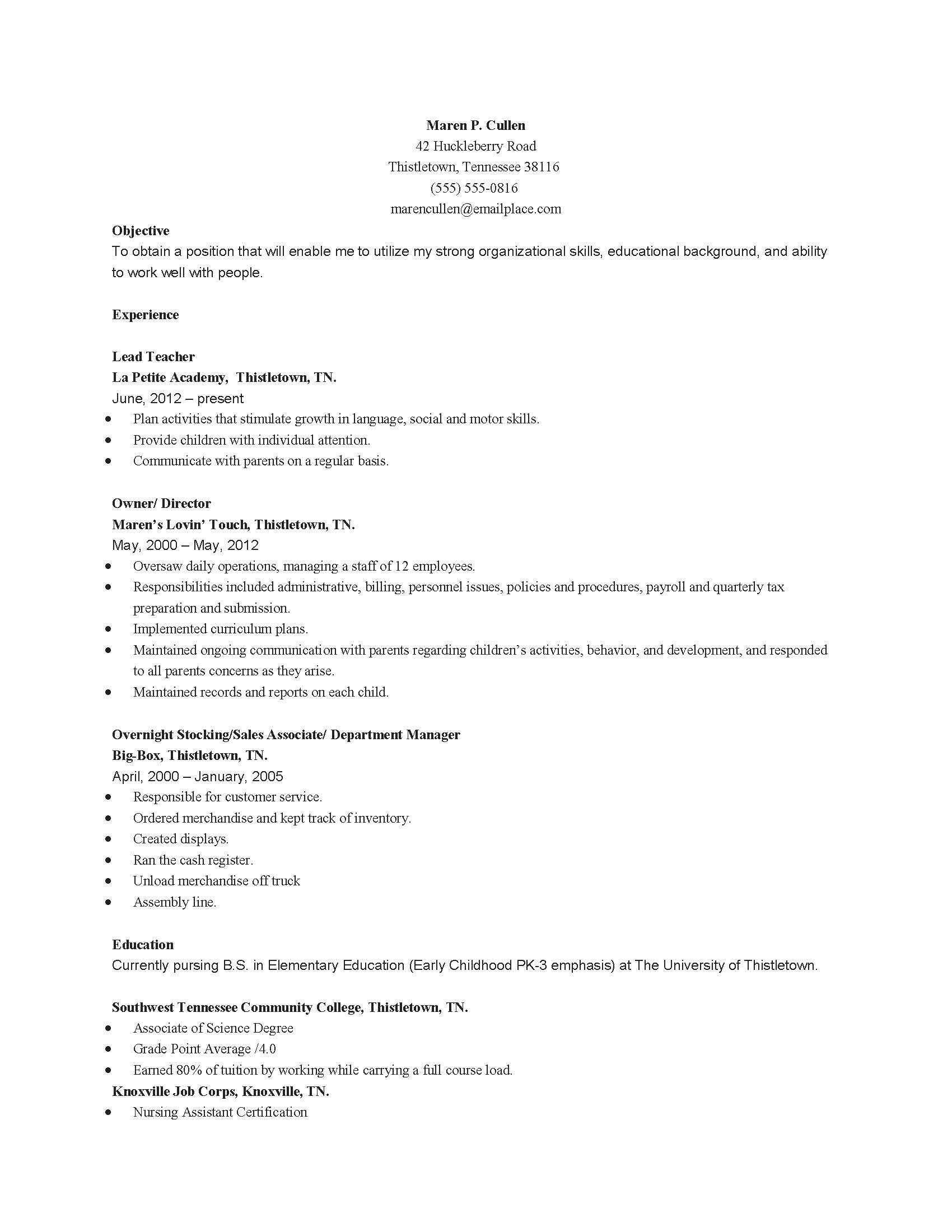 childhood education child care resume sample best examples for educator nmdnconference Resume Sample Resume For Child Care Educator