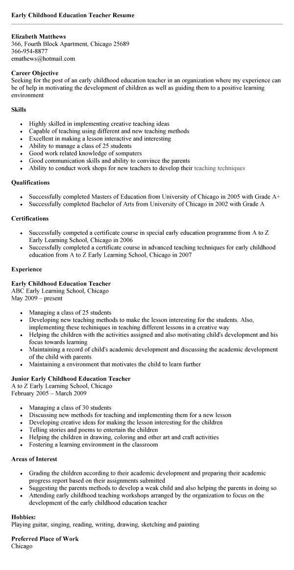 childhood education sample resume activities teachers teacher template good headline Resume Early Childhood Teacher Resume Template