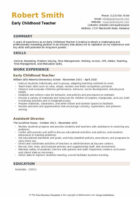 childhood teacher resume samples qwikresume template pdf barista objective business Resume Early Childhood Teacher Resume Template