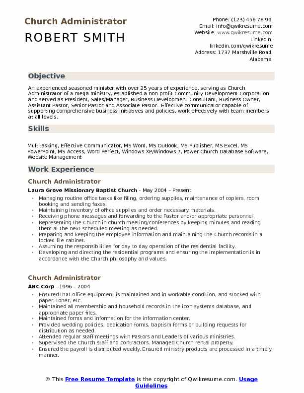 church administrator resume samples qwikresume ministry templates for word pdf graduate Resume Ministry Resume Templates For Word