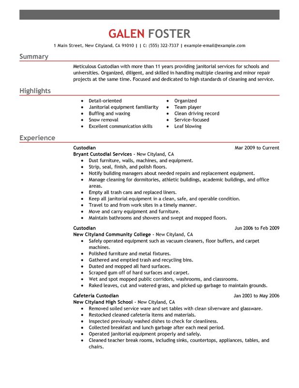 cleaning professionals resume examples created by pros myperfectresume objective Resume Porter Resume Objective