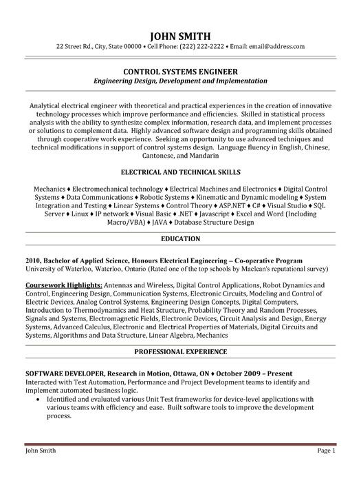 click here to this control systems engineer resume template http resumetemplate Resume Wireless Engineer Resume Sample