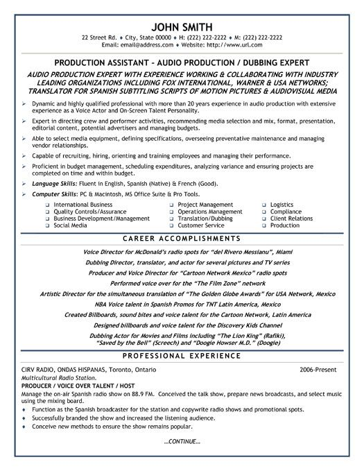 click here to this production assistant resume template http resumetemplates101 Resume Production Assistant Resume Template