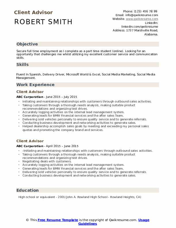 client advisor resume samples qwikresume about sample pdf techniques combination template Resume Resume About Me Sample