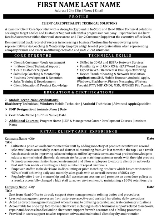 client care specialist resume sample template customer service technical solutions Resume Customer Service Specialist Resume