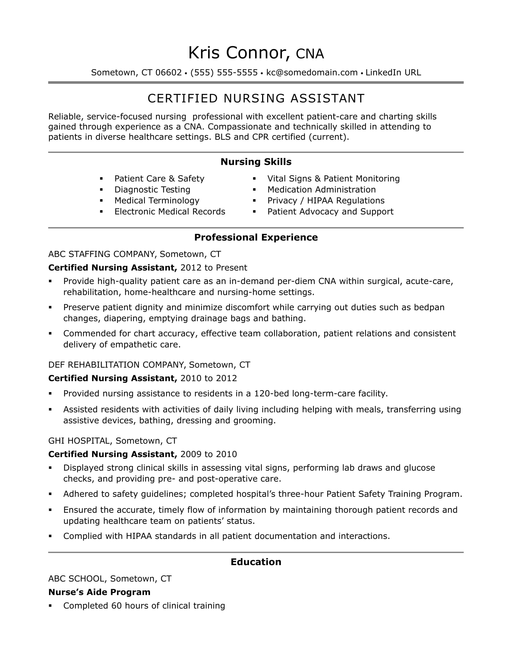 cna resume examples skills for cnas monster nursing assistant certified free simple Resume Nursing Assistant Resume Examples