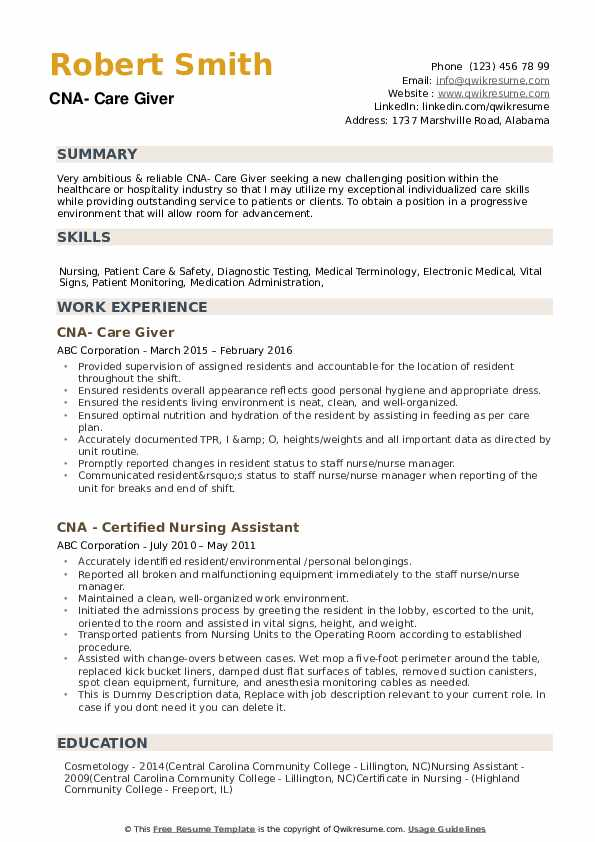 cna resume samples qwikresume description duties pdf princeton mfin creative developer Resume Cna Description Duties Resume
