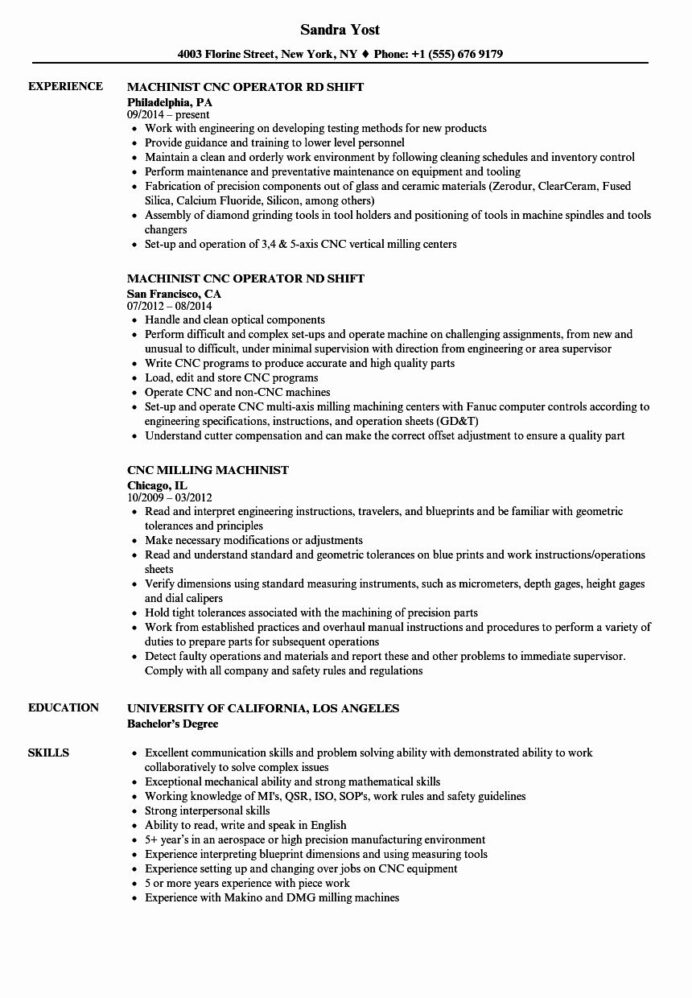 cnc machine operator resume awesome machinist samples template horse trainer apply with Resume Cnc Machine Operator Resume