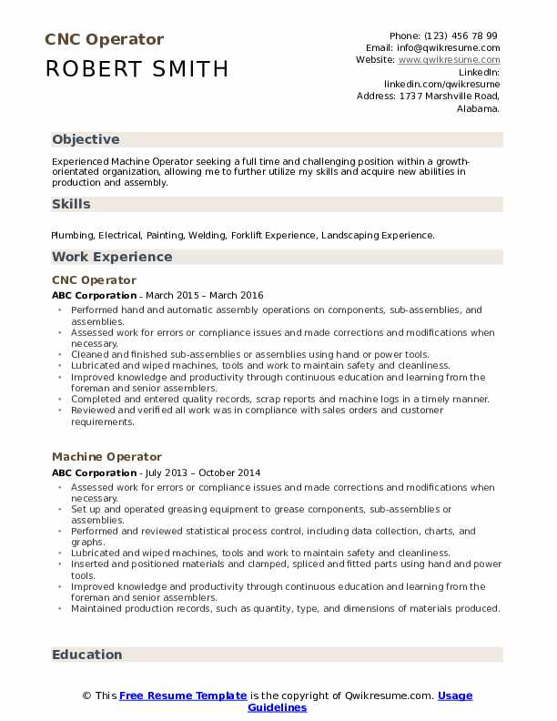 cnc operator resume samples qwikresume machine pdf best examples for software engineer Resume Cnc Machine Operator Resume