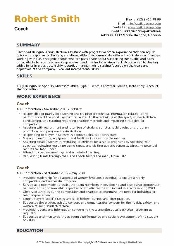 coach resume samples qwikresume sports template pdf prior authorization pharmacy Resume Sports Coach Resume Template
