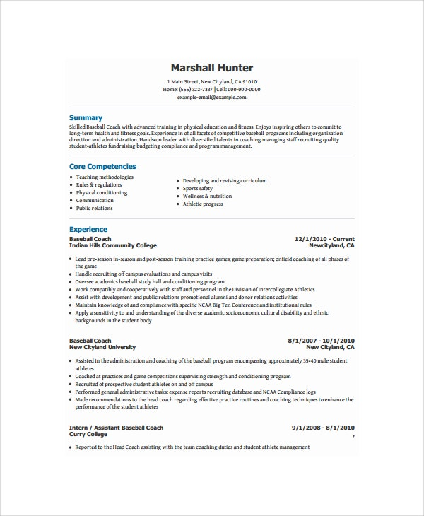 coach resume template free word pdf document downloads premium templates for coaching job Resume Resume Template For Coaching Job