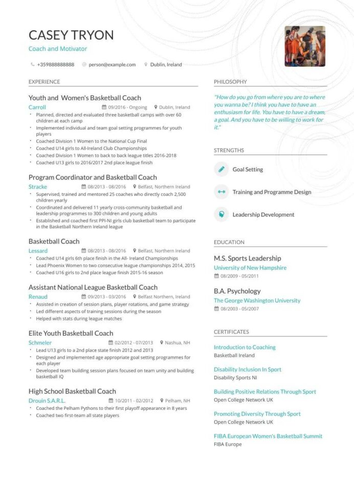 coaching resume examples inside to tips enhancv template for job tableau skills build Resume Resume Template For Coaching Job