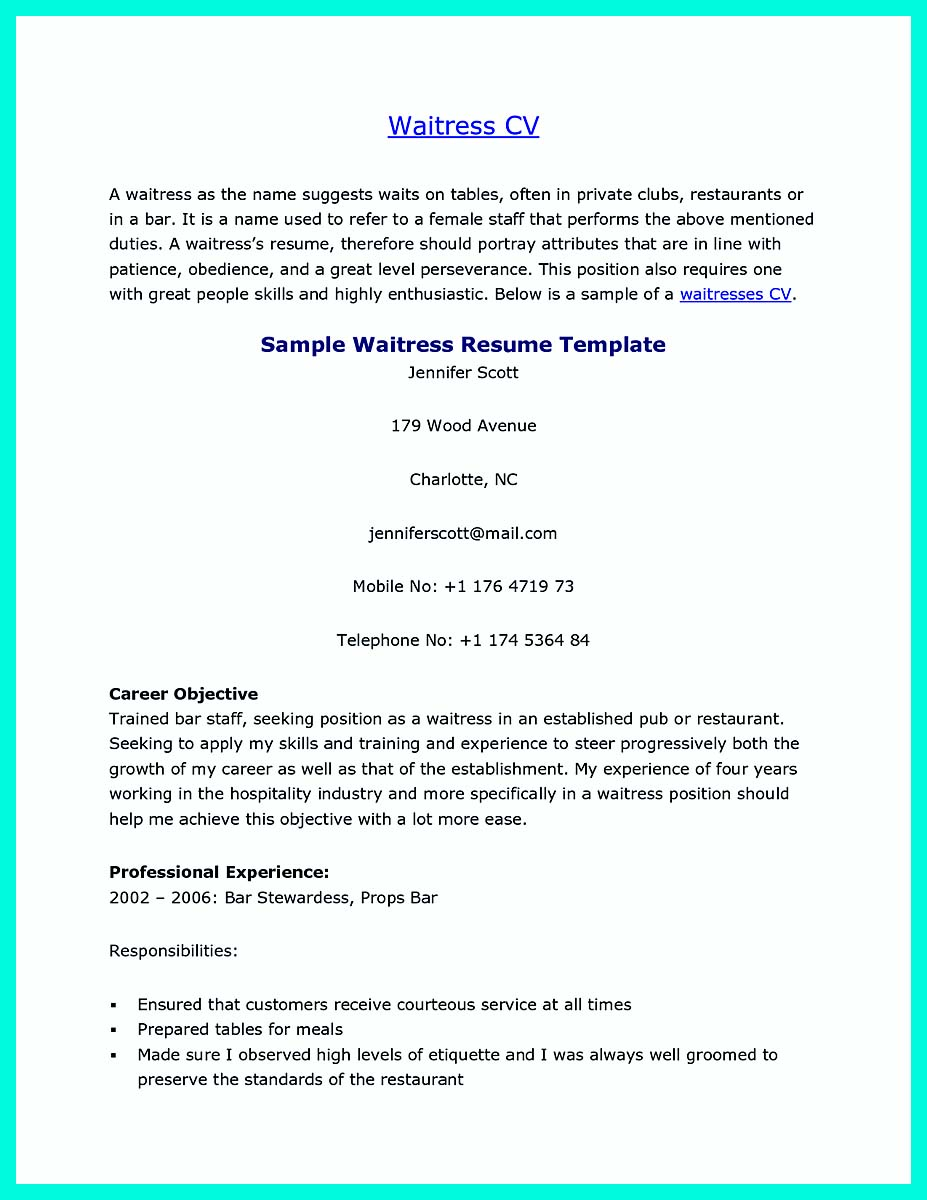 cocktail server resume skills to convince restaurants or café objective for example of Resume Server Resume Objective