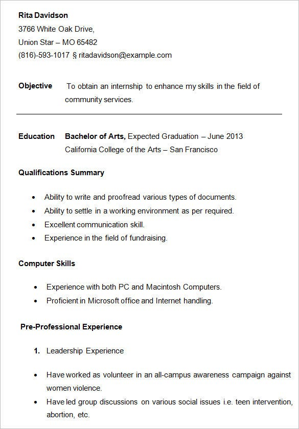 college resume template sample examples free premium templates good for students student Resume Good Resume Templates For College Students