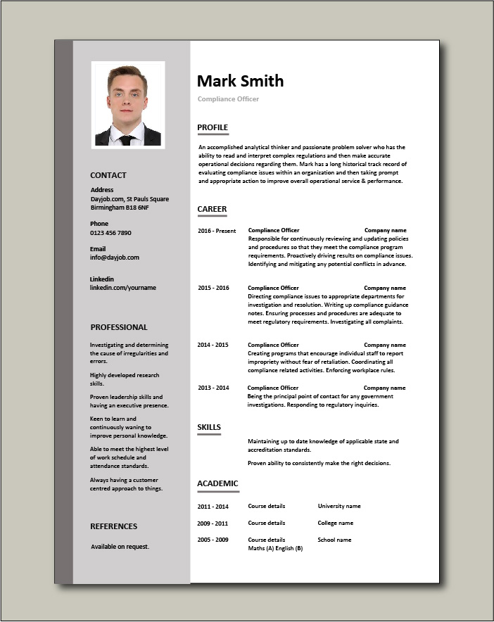 compliance officer resume objective sample example regulations job description policy Resume Research Officer Resume