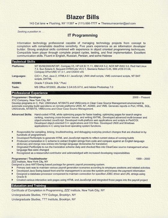 computer programmer resume example template sample it programmer8 matching machine Resume Computer Programmer Resume Template
