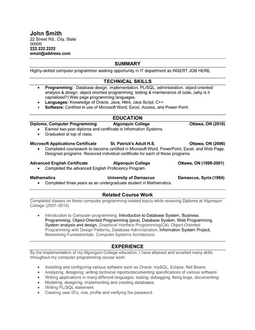 computer programmer resume sample template student it nanny web hosting support writing Resume Computer Programmer Resume Template