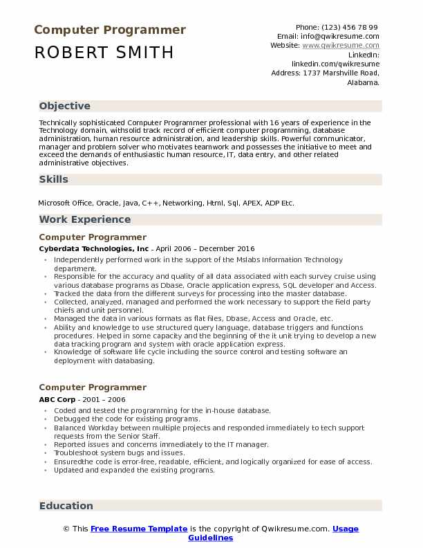 computer programmer resume samples qwikresume template pdf nanny best executive assistant Resume Computer Programmer Resume Template