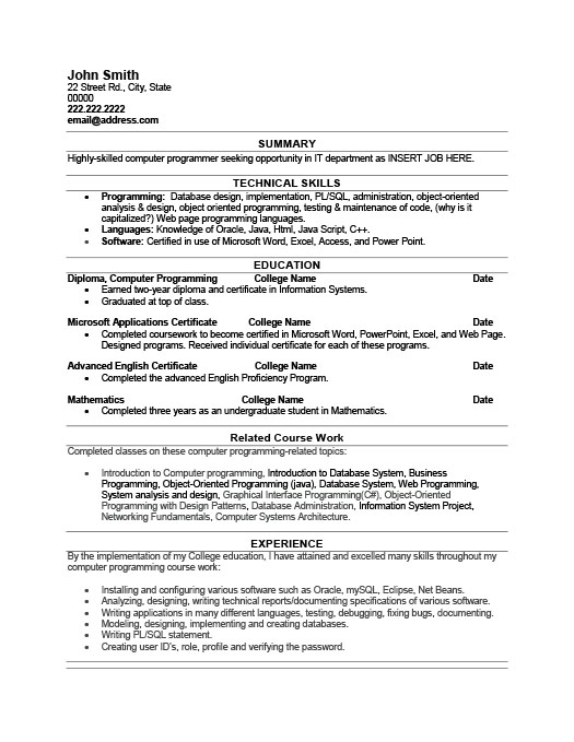 computer programmer resume template premium samples example best executive assistant Resume Computer Programmer Resume Template