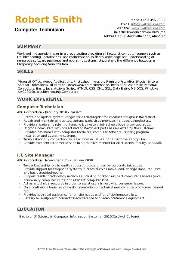 computer technician resume samples qwikresume support specialist examples pdf skills of Resume Computer Support Specialist Resume Examples
