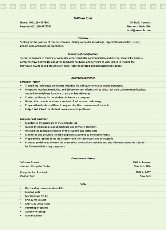 computer trainer resume sample microsoft word software programs for accounts receivable Resume Computer Software Programs For Resume