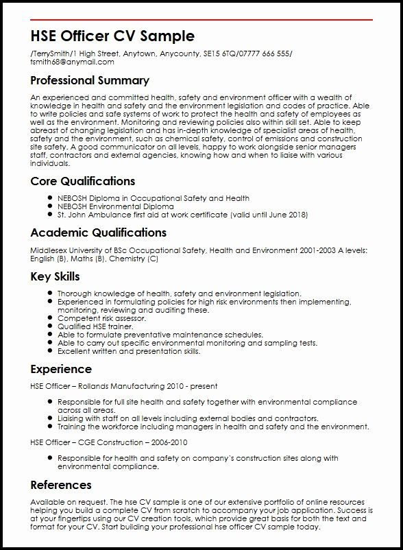 construction objective for resume awesome health safety and environment ficer cv example Resume Safety Officer Job Description Resume