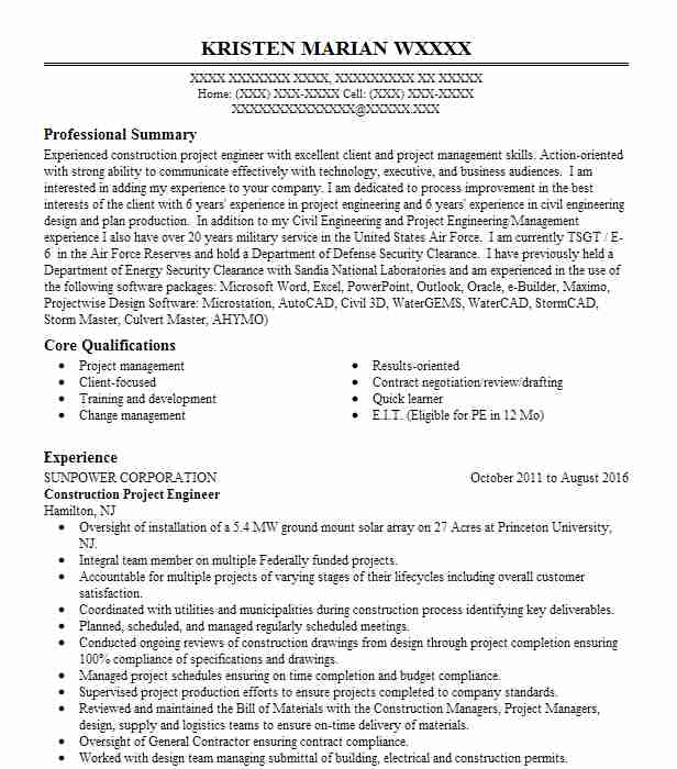construction project engineer resume example livecareer objective painter sample special Resume Construction Project Engineer Resume Objective