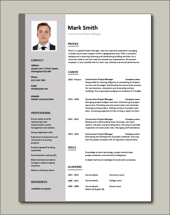 construction project manager resume example sample building work ability budget controls Resume Construction Project Manager Resume