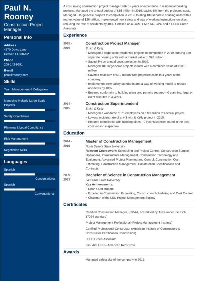 construction project manager resume sample and tips rl assisted synonym bartender job Resume Construction Project Manager Resume