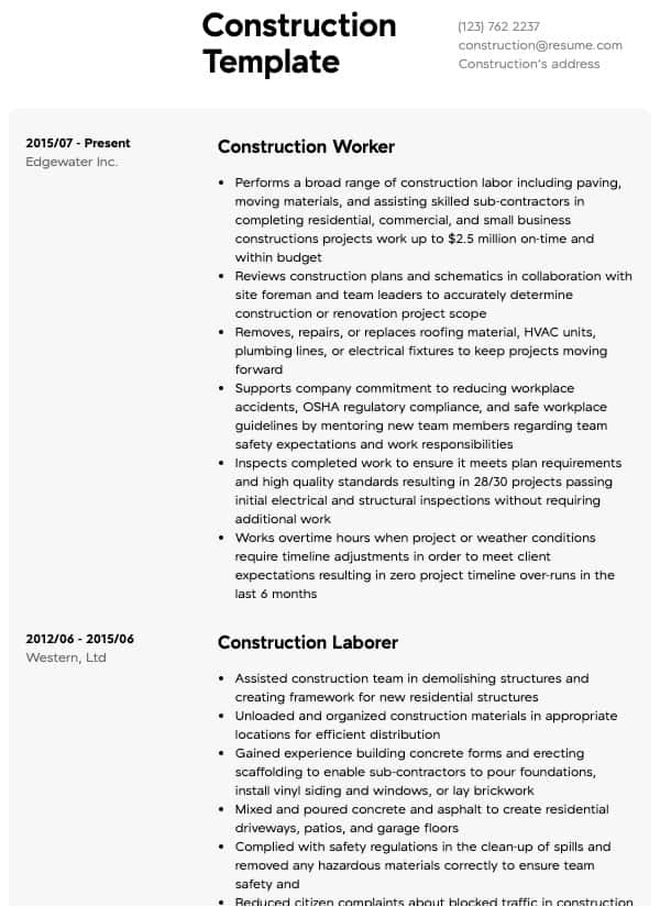 construction resume samples all experience levels format for job human resources Resume Resume Format For Construction Job