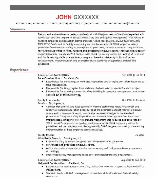 construction safety officer resume example livecareer job description best templates Resume Safety Officer Job Description Resume