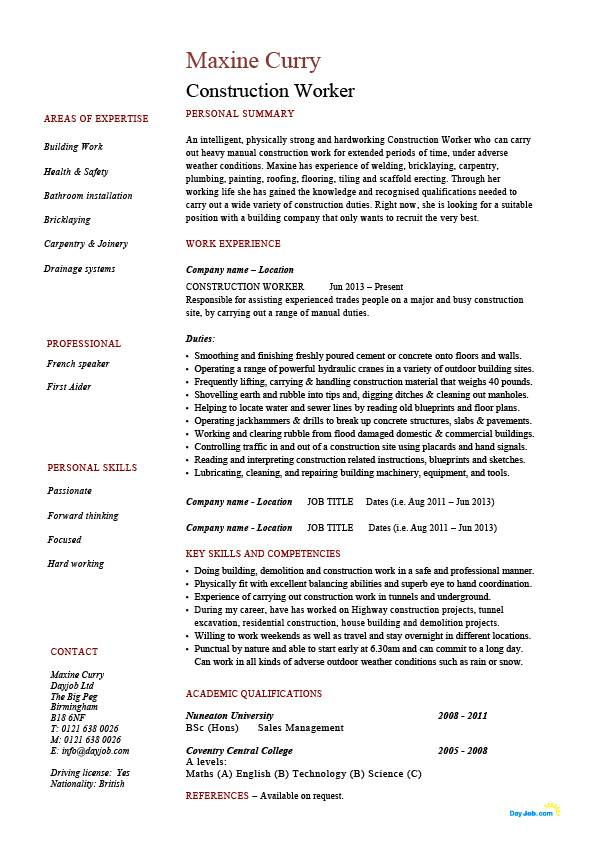 construction worker resume building example sample job description tiling plumbing house Resume Construction Worker Resume Sample