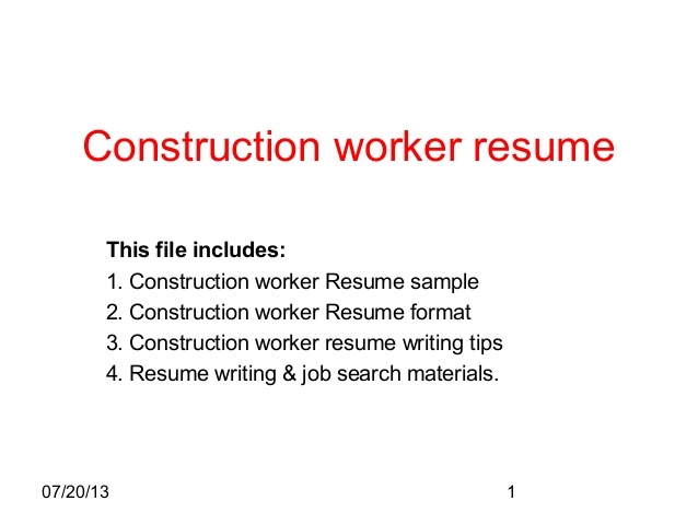 construction worker resume sample format for job another word cpr and first aid Resume Resume Format For Construction Job